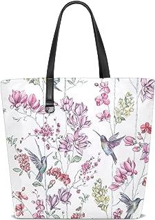 MASSIKOA Hummingbirds Floral Beach Tote Bags Travel Totes Bag Shopping Tote for Women Handbag