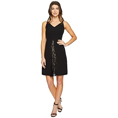 Maggy London Dream Crepe Fit and Flare Dress with Feminine Lace (Black) Women