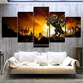 Artwap 5 Piece Darksiders 2 Video Game Printed for Living Room Wall Art Modular Picture Frame Artwork Poster Home Decor Canvas Painting size2