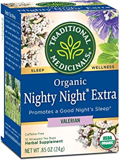 Traditional Medicinals Organic Nighty Night Valerian Relaxation Tea, 16 Tea Bags (Pack of 1)