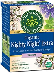 Traditional Medicinals Organic Nighty Night Valerian Relaxation Tea, 16 Tea Bags (Packaging may Vary