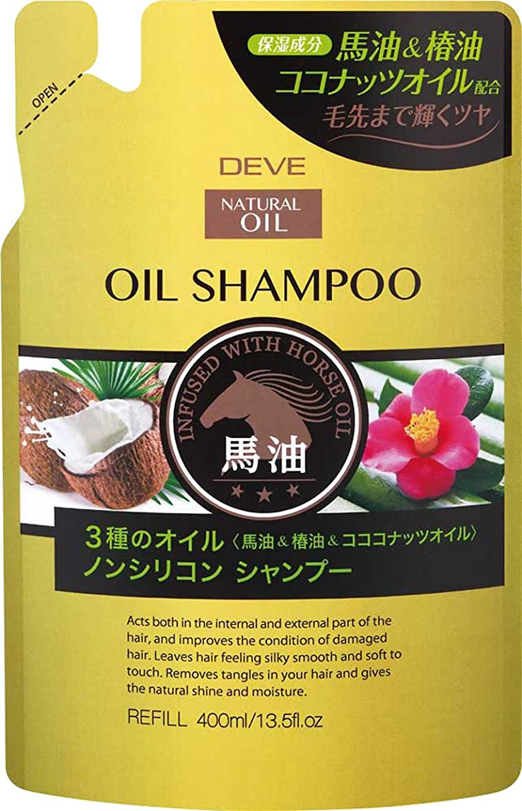 指仲人刑務所熊野油脂 ディブ 3種のオイルシャンプー(馬油?椿油?ココナッツオイル)400ml