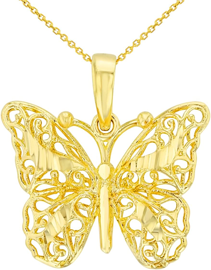 14K Yellow Gold Textured Filigree 3D Butterfly Pendant Necklace