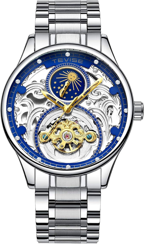 ZHANGZZ Hermoso Reloj TEVISE, TEVISE Reloj mecánico automático Hueco para Hombre de la Fase Lunar del tourbillon.