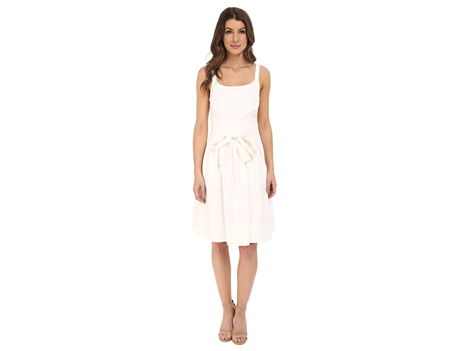 Calvin Klein Tank Dress w/ Bow Belt (Soft White) Women