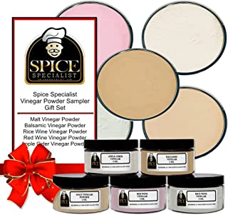 Spice Specialist Vinegar Powder Sampler Set - Contains 5 X 4 Ounce Jars hold 2 ounces