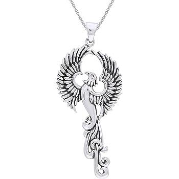 Phoenix with Fleur De Lis Sterling Silver Pendant by Peter Stone Fine Jewelry
