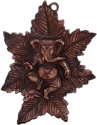 eCraftIndia Sunrise View Decorative Wooden Wall Clock (30 cm X 2.5 cm X 30 cm) & Lord Ganesha On Maple Leaf Metal Wall Hanging (20.32 cm X 1.27 cm X 25.4 cm, Brown) Combo
