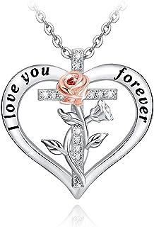 Rose Heart Necklace for Women 925 Sterling Sliver...