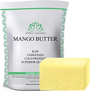 Limited Time Sale! Unrefined Mango Butter 1 lb (16 oz) Raw, Natural, 100% Pure, Grade A, Amazing Moisturizer, Use Alone or in DIY Body Butters, Soaps, Lotions and lip balm