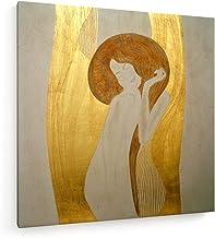 weewado Gustav Klimt - Friso de Beethoven - Cuello - 80x80 cm - Impresión en Lienzo Textil - Muro de Arte - Old Masters/Museum