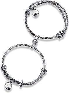 حبل جذب متعدد الأغراض لزوج أساور مضفر من قطعتين من قلائد الحب الخالد مع أجراس مغناطيسية هدية مجموعة مجوهرات للنساء الرجال