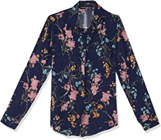 Andiamo Long Sleeves High-Low Floral Pattern Shirt for Women S