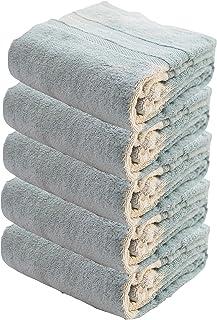 5 قطع من مجموعات منشفة الحمام الفاخرة - مناشف الحمام المزيفة الناعمة المصنوعة من القطن 100٪ (أزرق فاتح) Face Towel