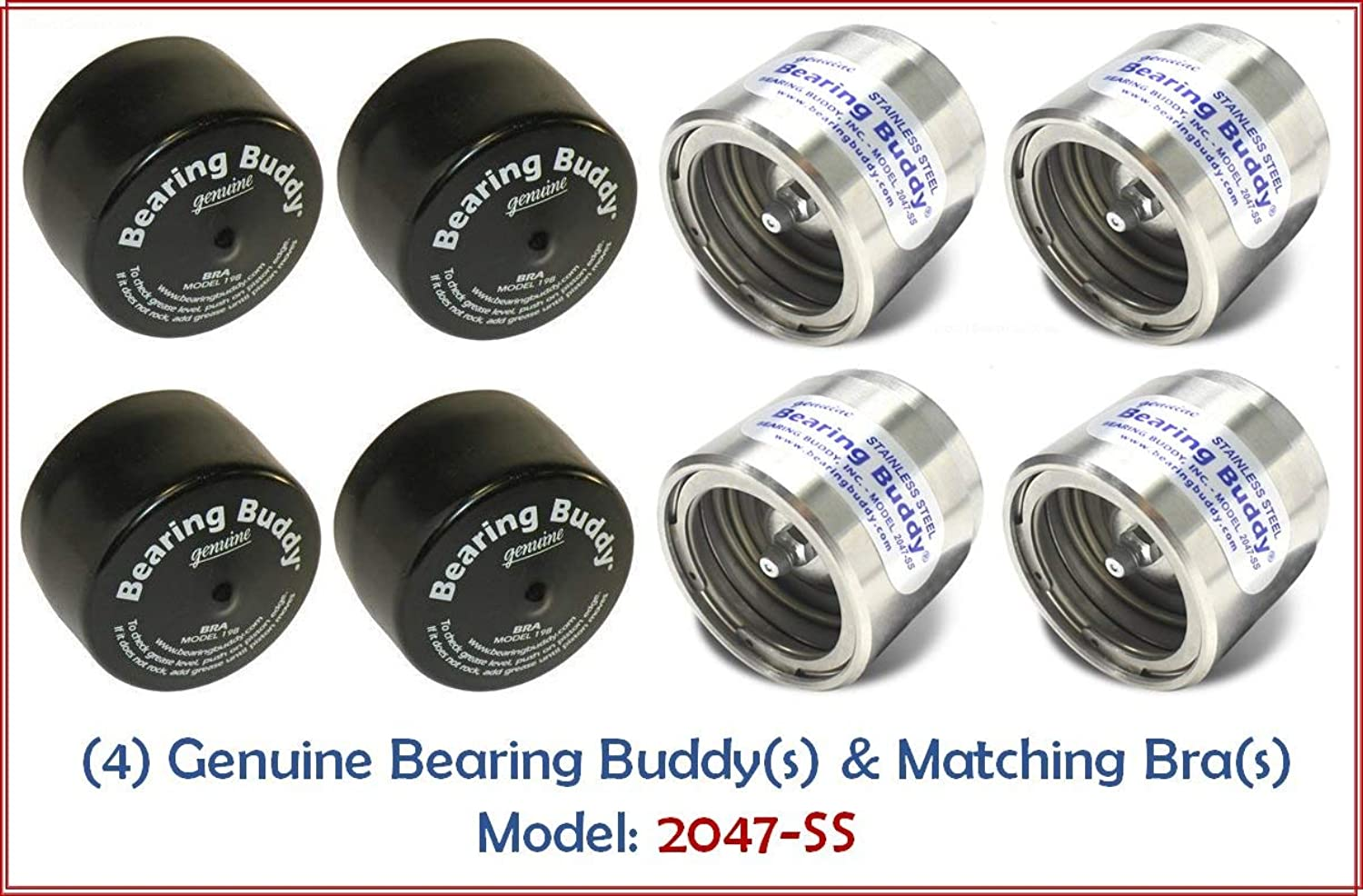 Bearing Buddy STAINLESS STEEL (5.2cm Diameter) with Predective Bras Model 2047SS  2 Pairs