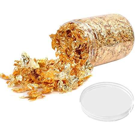 Gold Leaf Gilding Resin Flakes, 10g Gold Metallic Foil Flakes,for Nail Art, Painting, Crafts, Slime and Resin Jewelry Making , DIY Crafts,Slime and Resin Jewelry Making