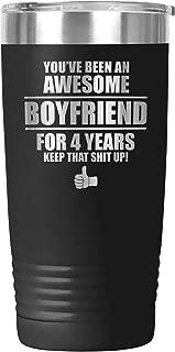 4th Anniversary Gift For Boyfriend Tumbler Travel Mug Cup 4 Year Men Four Years Dating Him BF K-45X (20oz, Black)