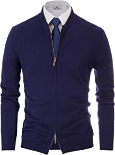 Mens Two Way Zipper Cardigan Sweater Casual Solid Soft Knit Sweater