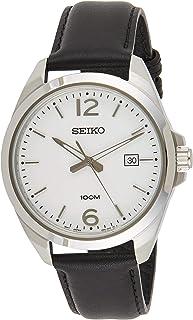 Seiko Men's 42mm Black Leather Band Steel Case Hardlex Crystal Quartz White Dial Analog Watch SUR213, SUR213P1