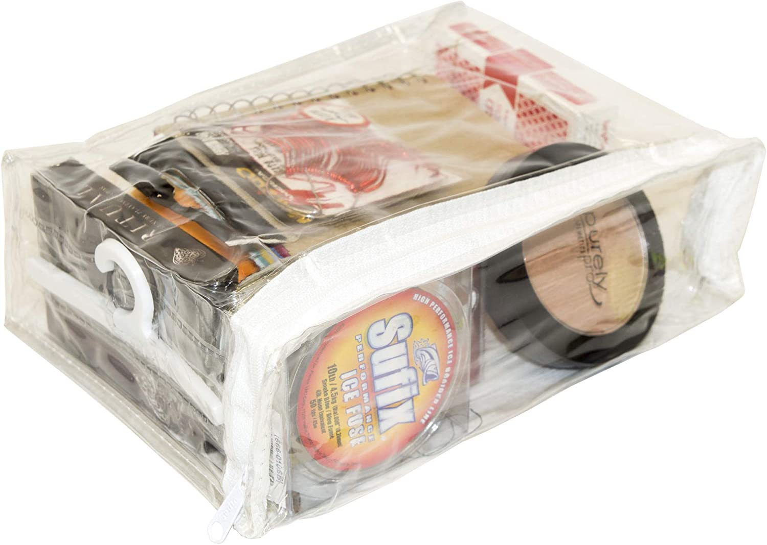 Clear Vinyl Zippered Storage Bags 8 x 6 x 2.5 Inch with Display Hanger 5-Pack