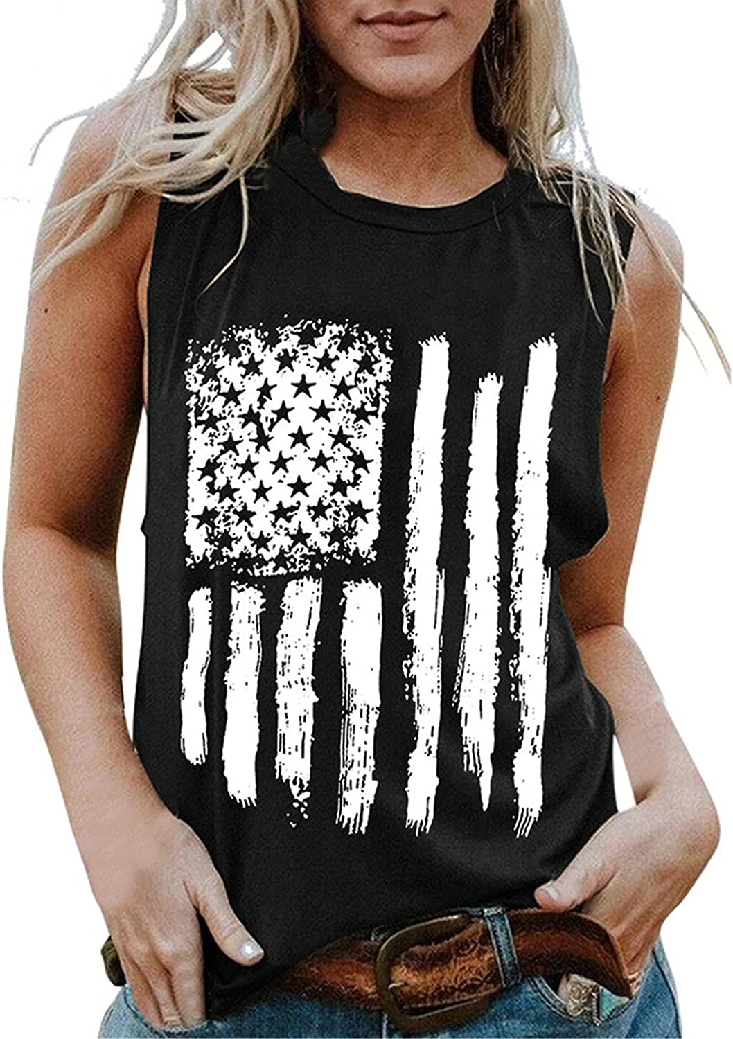 AODONG Tank Tops for Women, Womens American Flag Tank Tops Casual Summer Sleeveless Shirts 4th of July Tee Tops