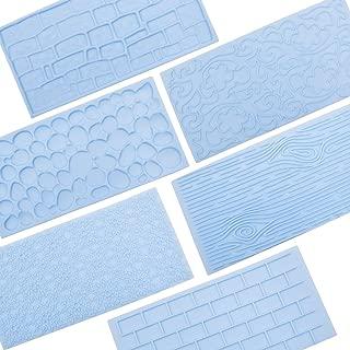 6 Packs Fondant Impression Mat Mold Set, Embossed Tree Bark/Brick Wall/Flower/Cobblestone/Stone Wall Texture Design