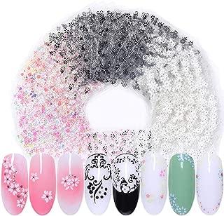 LEMOOC 60 Sheets 3D Nail Art Sticker White Black Flowers Adhesive Transfer Decals Tips Mixed Pattern Nail Art Manicure Decoration