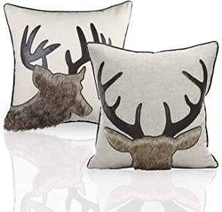 Little Funny Deer Throw Pillow Covers Set of 2 Cotton Linen Animal Cushion Covers Decorative Throw Pillow Case for Couch Bedroom Sofa Bed Living Room 18x18 Inch
