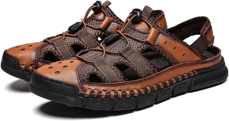 GUANNGXINNI 2019 Ny bekväm handgjord handgjord handgjord män Sandaler Genuine läder Soft sommar Mans skor  i lager