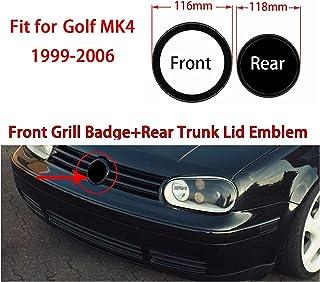 TRUSTTWO Glans Zwart Fit for Golf MK4 1999-2006 116mm Front Grill Badge + 118mm Achterste Trunk Deksel Embleem Auto Logo (...