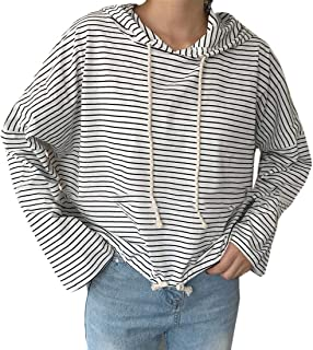 S-Fly Womens Loose Fit Casual Hoodies Long Sleeve Stripe Plus Size T Shirts