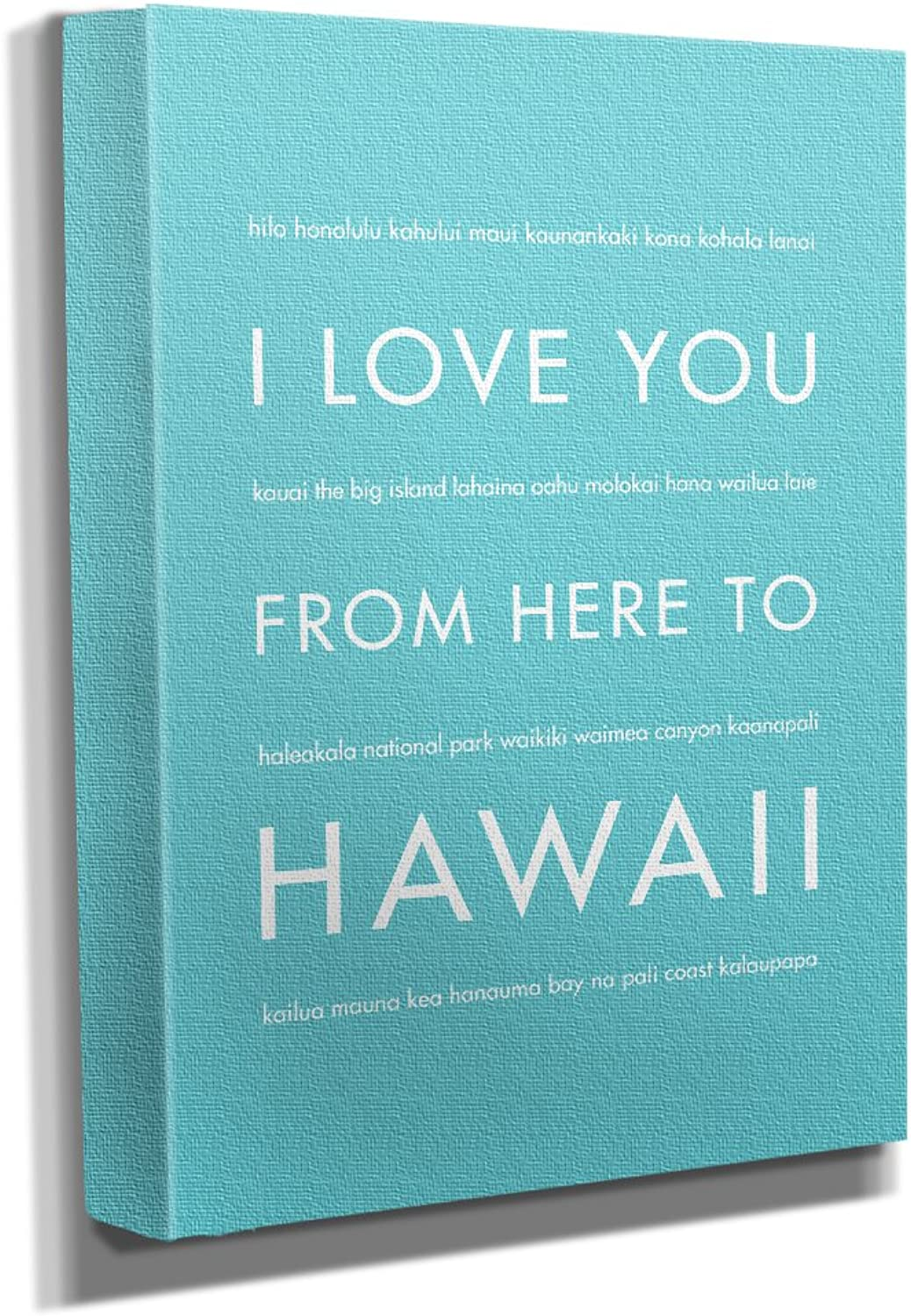 HopSkipJumpPaper Hawaii Gallery Wrapped Stretched Canvas Wall Art (8 x10 x1.5 ) in Robins Egg bluee - Typography Home Decor - Ready to Hang