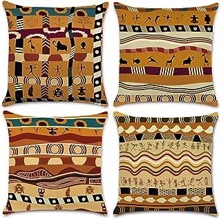 NYKKOLA Soft Linen Ancient Egypt Throw Pillow Covers Set, Decorative Pillowcase Cushion Cover for Sofa Bedroom Car 18 x 18 Inch 45 x 45 cm (Style 29)
