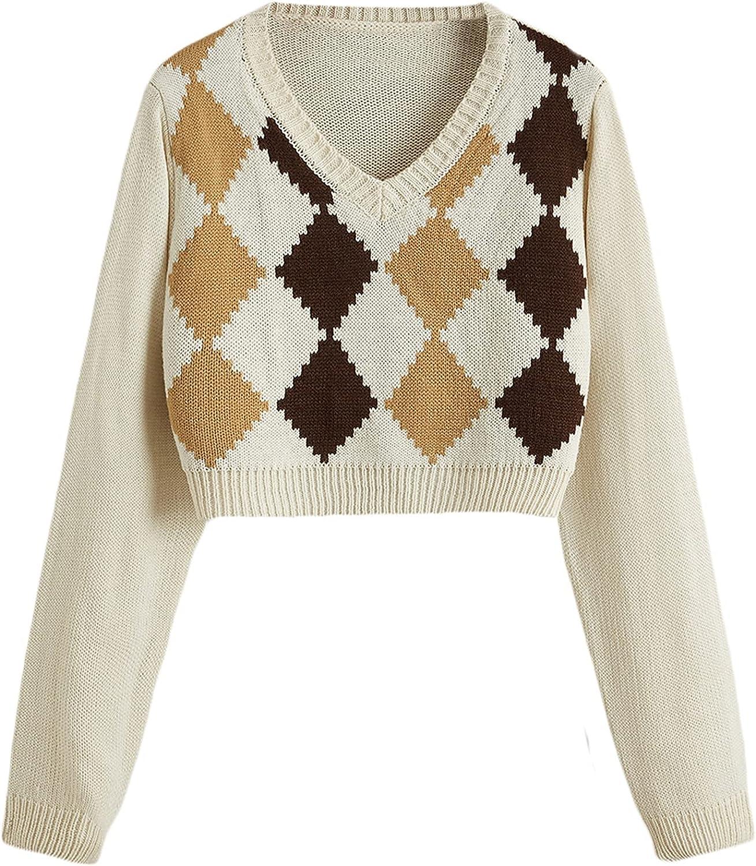 Verdusa Women's Argyle Print V Neck Long Sleeve Crop Pullover Top Sweater