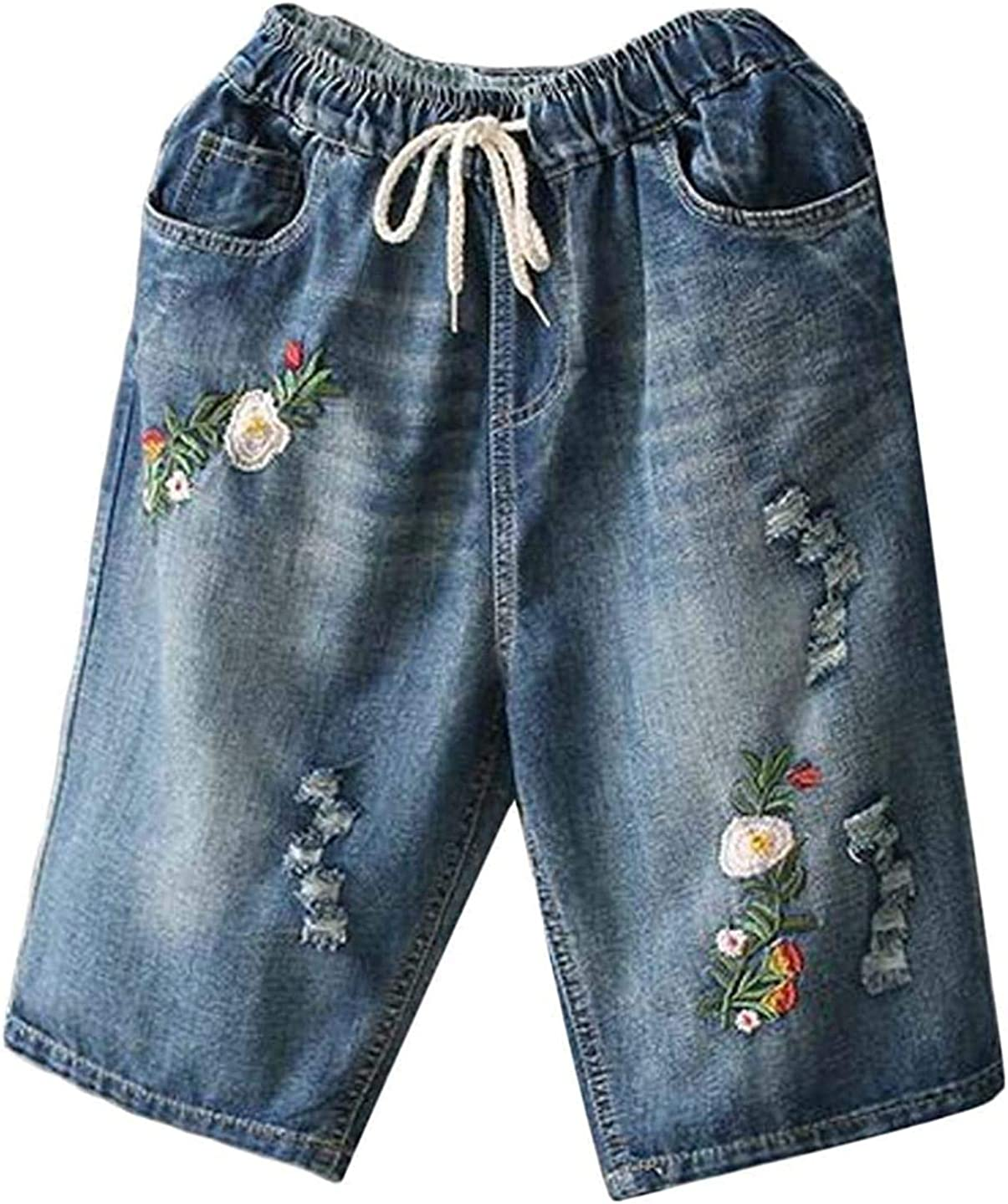Womens Floral Embroidery Loose Fit Summer Elastic Waist Bermuda Denim Shorts Jeans
