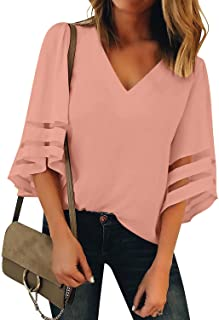 1a52f333dd5fe luvamia Women's Casual 3/4 Tiered Bell Sleeve Crewneck Loose Tops Blouses  Shirt
