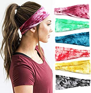 Huachi Headbands for Women Boho Printed - Versatile Design for Workout Running Yoga Sports - Wide Turban Thick Head Wrap Fashion Hair Accessories, 6 Pack