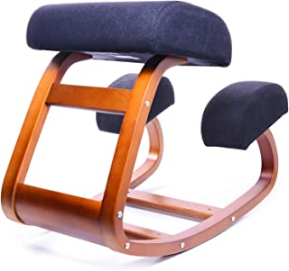 Ergonomic Kneeling Chair | Balans Posture Correcting Wooden Stool for Office & Home | Back Support,Rocking Kneel Seat with Orthopedic Soft Knee Cushions (Walnut Color)