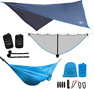 LAZZO Camping Hammock | Bundle Includes Mosquito Net, Rain Fly, Tree Straps, Backpack | Weighs 4 Pounds, Perfect for Hammock Camping,Backpacking,Hiking | Lightweight Nylon Single & Double Hammock
