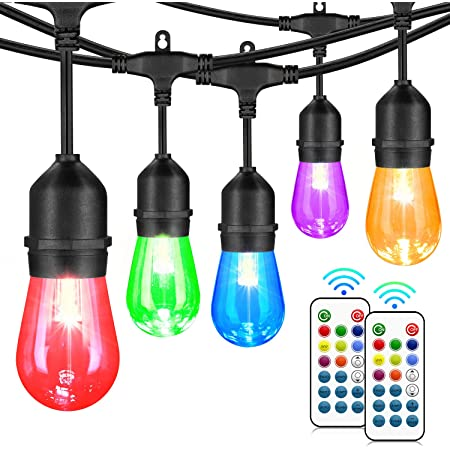48FT Outdoor Patio Lights, RGB Cafe String Lights with 18 E26 S14 Shatterproof Edison Bulbs, Commercial Grade Dimmable String Lights for Bistro Backyard Garden, 2 Remote Controllers