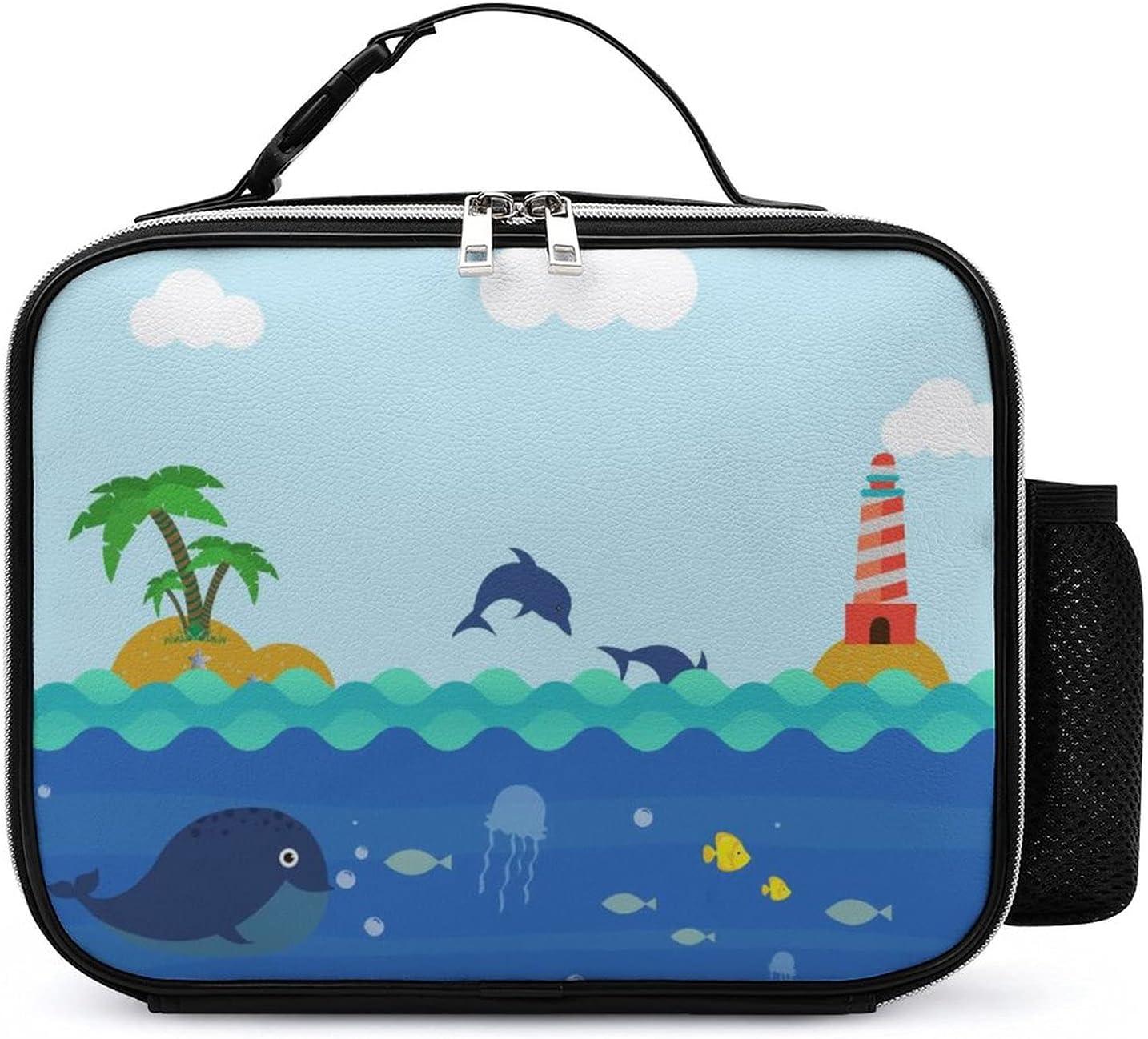 Bolsa Del Almuerzo Isla De Los Delfines Fiambrera Para Picnic Escolar De Trabajo De Oficina