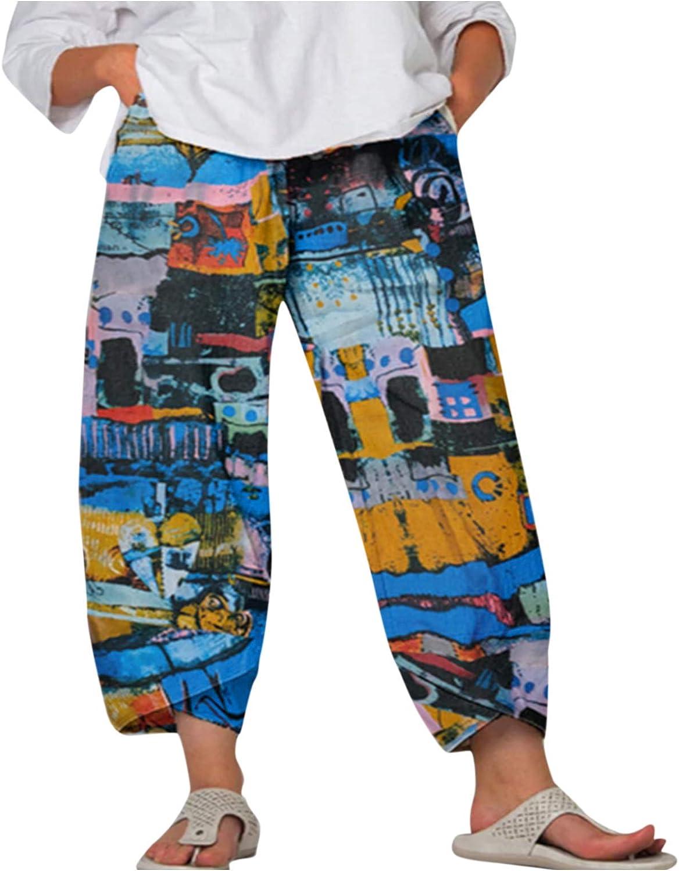 JPLZi Women Trousers Women Elastic Waist Boho Vintage Print Pant