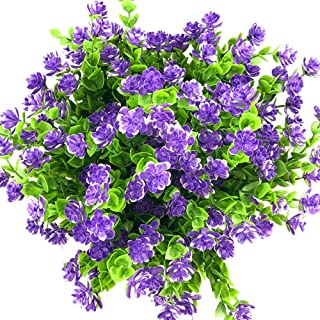 E-HAND Artificial Flowers Outdoor UV Resistant Plants Shrubs Boxwood Plastic Leaves Fake Bushes Greenery for Window Box Home Patio Yard Indoor Garden Light Office Wedding Decor Wholesale-4 Pack