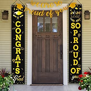 Idefair 2020 Graduation Banners Party Decorations Door Porch Flags Sign Welcome Hanging for Outdoor Indoor Home Wall Door ...