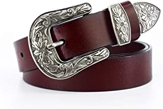 Women Leather Belts Vintage Designer Western Waist Fossil Dress Belts for Women Jeans Genuine Slim Pants Waistband Sash