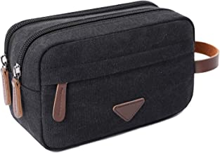 Mens Travel Toiletry Bag Canvas Leather Cosmetic Makeup Organizer Shaving Dopp Kits with Double Compartments (Black)
