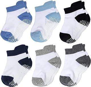 Calcetines Tobilleros Antideslizantes de Algodón Para Bebé Niños Niñas Infantiles 6/12 Pares