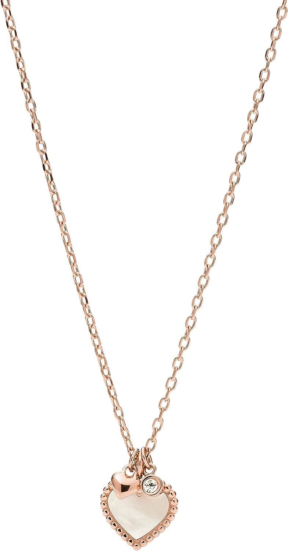 Fossil Women's Stainless Steel Regular dealer Necklace Pendant Detroit Mall Rose Gold-Tone
