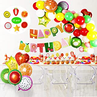 Tutti Frutti Party Decorations Set for Kids,Happy Birthday Banner,Fruit Foil Balloons,Latex Party Balloons,Cupcake Toppers for Birthday Baby Shower Fruit Theme Décor