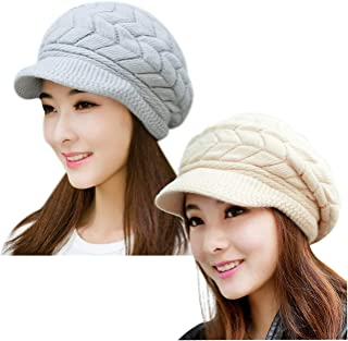 YSense Mens Winter Warm Beanie Hat Fleece Lined Thick Slouchy Cable Knit Skull Cap